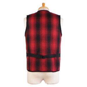 ウールベスト オンブレチェック - Onbre check Wool Work vest(Red check) generag 02