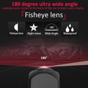 Qiilu 12V DC 駐車カメラ 正面図広角カメラ フロント カメラ 180度魚眼レンズ 夜間視界 IP68防水 車用ユニバーサル|general-purpose