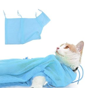 機能アップ最新版猫用 ネット みのむし袋 洗濯キャットバッグ 保定袋 メッシュ 猫 おちつく つめきり 爪切り 点眼 耳掃除 シャンプー 脱|general-purpose