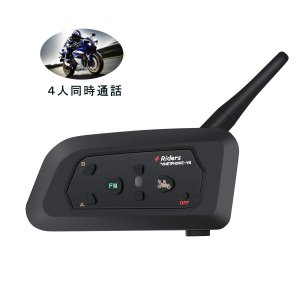 バイク用インカム Bluetooth 4Riders 4人同時通話 FMラジオ搭載 12時間連続通話...