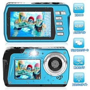 防水カメラ デジカメ 防水 「2020最新版」水中カメラ HD2.7K 48MPデジタルカメラ デュアルスクリーンHD充電カメラ(キャンプ、|general-purpose