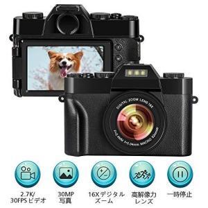 デジカメ デジタルカメラ 反転画面付きYouTubeデジタルカメラ vloggingカメラ2.7K UHD 30.0MP 16倍ズーム 3.|general-purpose