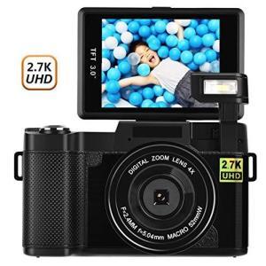 デジカメ デジタルカメラ 2.7K 24MP ビデオカメラ カムコーダー ビデオブログカメラ 180度回転スクリーン 3インチスクリーン|general-purpose