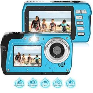 防水カメラ デジカメ 防水 水中カメラ 2688x1520 2.7K フルHD 4800万画素数 デュアルスクリーン 自撮り セルフィー オ|general-purpose