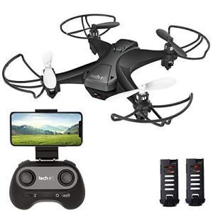 Tech rc ドローン カメラ付き 小型 ミニドローン こども向け バッテリー2個 飛行時間20分 WiFiリアタイム 高度維持 ヘッドレ|general-purpose