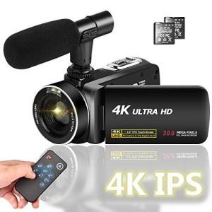 ビデオカメラ 4K 3000万画素 デジタルビデオカメラ ユーチューブカメラ 外付けマイク LEDフィルライト 18倍デジタルズーム 予備バ|general-purpose