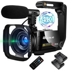 ビデオカメラ 4K デジタルビデオカメラ ユーチューブカメラ 外付けマイク+シェード+ハンドル+予備バッテリー 3000万画素 3インチタッ|general-purpose
