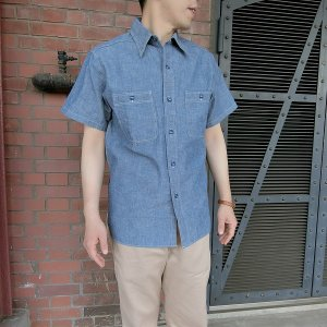 メール便送料無料 シャツ メンズ 半袖 BUZZ RICKSON'S BLUE CHAMBRAY WORK SHIRT (BR35856)|generalstore-y