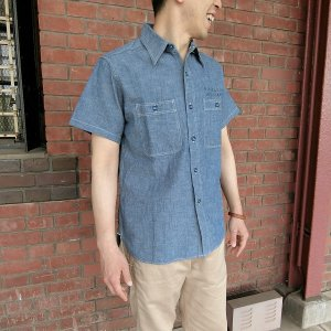 シャツ メンズ 半袖 BUZZ RICKSON'S BLUE CHAMBRAY WORK SHIRT
