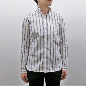 シャツ レディース 小衿玉縁ポケット トラックストライプシャツ LG27985|generalstore-y