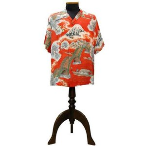 SUN SURF(サンサーフ)アロハシャツ ARCH BRIDGE & Mt.FUJI(太鼓橋&富士山) POLINESIAN(ORANGE)|generalstore-y