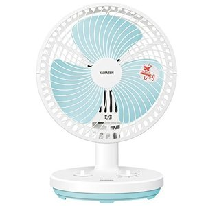 山善 18cm卓上扇風機 (ロータリースイッチ)(風量2段階) タイマー付 ホワイトブルー YDT-...
