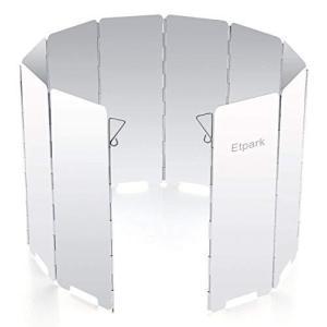 Etpark?風除板 ウインドスクリーン 折り畳み式 防風板 アルミ製 10枚 延長版 軽量 収納袋 付き (風除板)|genieweb