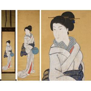 【源】【S】《江戸期》古画 団扇立姿美人図/箱付|genjian39