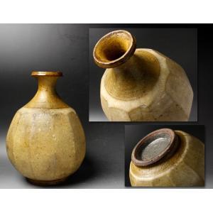 【源】【S】《李朝期》『鑑賞陶器』李朝 面取 時代瓶|genjian39