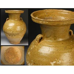 【源】【S】《名品》《宋時代》褐釉 二耳時代瓶/箱付|genjian39