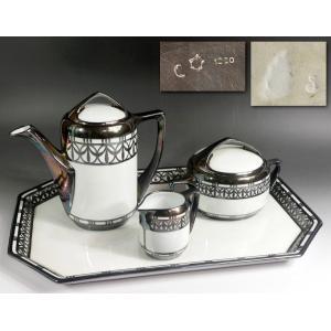 【源】【S】《明治期》瀬戸焼 輸出用最高級 白磁 純銀装飾 ティーセット揃い/箱付|genjian39