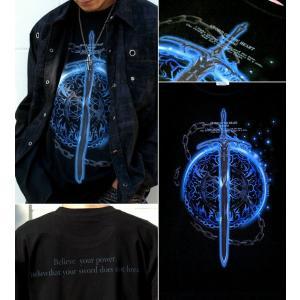 Tシャツ トライバル 剣 半袖 長袖 XS S M L XL XXL XXXL 2L 3L 4L サイズ メンズ レディース Sword Field -Durandal-|genju|02