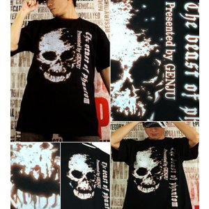 Tシャツ スカル ドクロ 半袖 長袖 XS S M L XL XXL XXXL 2L 3L 4L サイズ メンズ レディース Image of Death Type-2|genju|02