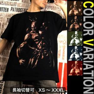 Tシャツ 和柄 仏像 半袖 長袖 XS S M L XL XXL XXXL 2L 3L 4L サイズ メンズ レディース 阿吽|genju