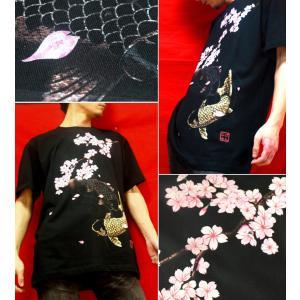 Tシャツ 和柄 鯉 半袖 長袖 XS S M L XL XXL XXXL 2L 3L 4L サイズ メンズ レディース 桜河|genju|03