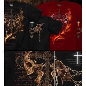 Tシャツ スカル ロック メタル 十字架 半袖 長袖 XS S M L XL XXL XXXL 2L 3L 4L サイズ メンズ レディース IDEAイデア genju 02