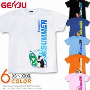 GENJU 夏Tシャツ メンズ サーフィン 海 ペンギン|genju