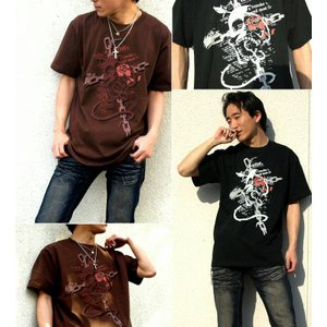 Tシャツ スカル ドクロ 髑髏 骸骨 半袖 長袖 XS S M L XL XXL XXXL 2L 3L 4L サイズ メンズ レディース ROSE BLOOD|genju|02