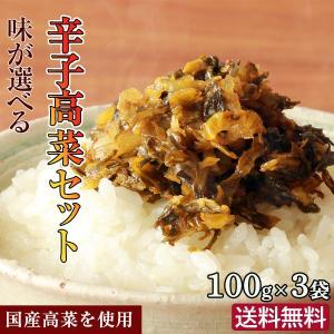 送料無料 ポイント消化 選べる辛子高菜セット 3種類から選択100g×3袋 国産 ふくや辛子たかな ...