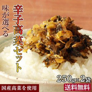 送料無料 ポイント消化 選べる辛子高菜セット 3種類から選択250g×2袋 国産 ふくや辛子たかな ...