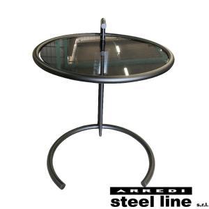 アイリーン・グレイ E1027 アジャスタブルテーブル(グレーガラス天板仕様) スティールライン社DESIGN900 (steelline)|genufine-store