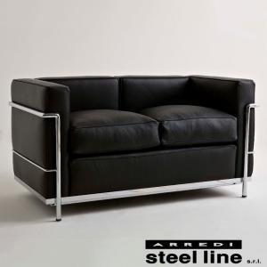 ル・コルビジェ LC2 2P(アニリン本革) スティールライン社DESIGN900 (steel line) genufine-store