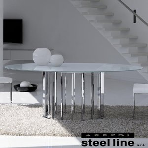 LIFE CLASSシリーズ EMBASSYガラスダイニングテーブル スティールライン社 (steelline)|genufine-store
