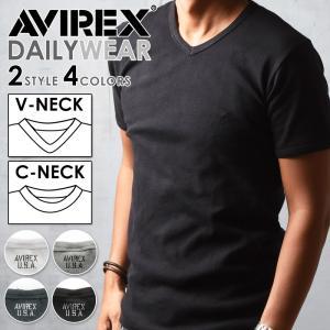 ポイント還元セール AVIREX アビレックス アヴィレックス デイリー Vネック/クルーネック 半袖Tシャツ メンズ 6143501_6143502|geostyle