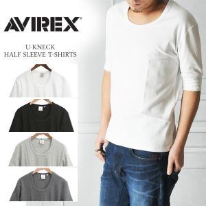 【ポイント還元セール】AVIREX アビレックス アヴィレックス デイリー リブUネック 五分袖Tシャツ メンズ 6193142_6143508|geostyle