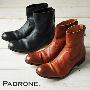 【期間限定】ポイント11倍 パドローネ PADRONE プレーントゥ ブーツ(バックジップ)