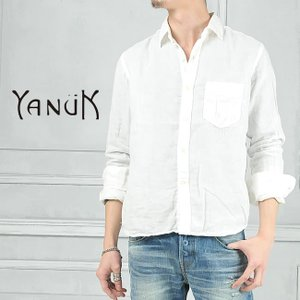 ヤヌーク YANUK メンズ 二重織り ダブルガーゼ 長袖シャツ 白シャツ 57262006|geostyle