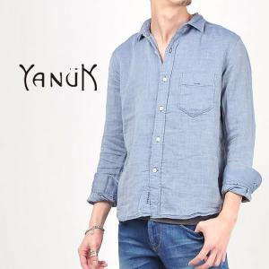 SALEセール10%OFF ヤヌーク YANUK メンズ 二重織り ダブルガーゼ 長袖シャツ インディゴ 57262007|geostyle