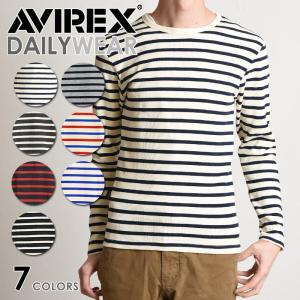 AVIREX アビレックス デイリー 長袖 クルーネック ボーダー Tシャツ/DAILY CREW NECK BORDER T-SHIRT 6163369/6143408 avirex/アヴィレックス メンズ|geostyle