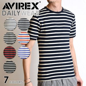 AVIREX アビレックス デイリー 半袖 クルーネック ボーダー Tシャツ/DAILY CREW NECK BORDER T-SHIRT 6163371 avirex/アヴィレックス メンズ|geostyle