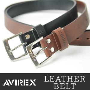 AVIREX/アビレックス/アヴィレックス ロゴ型押し バックル レザーベルト AX-4005 メンズ geostyle