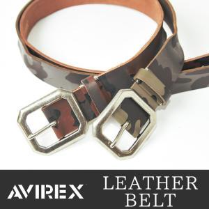 AVIREX/アビレックス/アヴィレックス 迷彩プリント バックル レザーベルト AX-4107 メンズ geostyle
