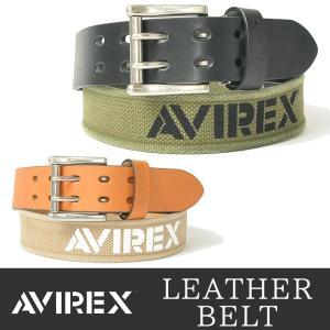 AVIREX/アビレックス/アヴィレックス コンビ レザーベルト ダブルピンベルト AX-4110 メンズ geostyle
