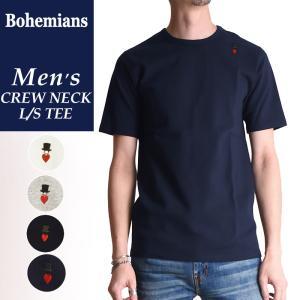 新作 ラッピング無料 ボヘミアンズ Bohemians 半袖 スパンリブ Tシャツ(クルーネック)ラブハット メンズ インナー コットン BT-40|geostyle