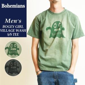 送料無料(ゆうパケット)Bohemians ボヘミアンズ 半袖プリントTシャツ BOGEY GIRL VILLAGE WASH TEE ボギーガール柄 洗い加工 BT4H-BOGEY|geostyle