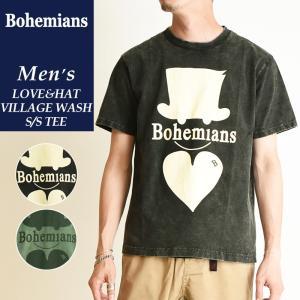 送料無料(ゆうパケット)Bohemians ボヘミアンズ 半袖プリントTシャツ PLAIN MEGA LOVE&HAT VILLAGE WASH TEE ラブアンドハット柄 BT4H-LOVE&HAT|geostyle