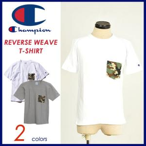 チャンピオン Champion 半袖Tシャツ カモ柄ポケット付リバースウィーブ