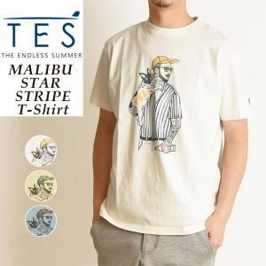 2020春夏新作 TES-The Endless Summer マリブスターストライプ 半袖 プリント Tシャツ メンズ 白T MALIBU STAR STRIPE FH-0574313|geostyle