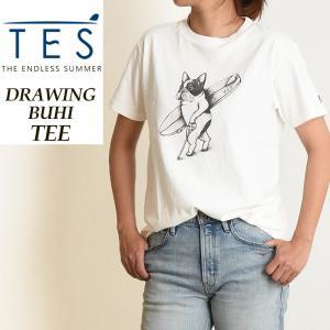 2019春夏新作 TES-The Endless Summer テス エンドレスサマー DRAWING BUHI 手描きブヒ 半袖Tシャツ レディース 白Tシャツ フレンチブルドッグ柄 FH-9574306|geostyle