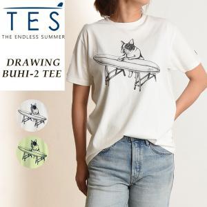 2019春夏新作 TES-The Endless Summer テス ドローウィングブヒ 半袖 Tシャツ レディース 白T フレンチブルドッグ柄 パグ柄 FH-9574314|geostyle